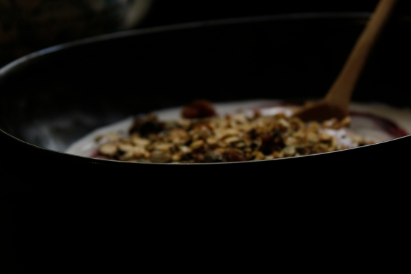 Garam Masala spiced stove-top granola with coconut.